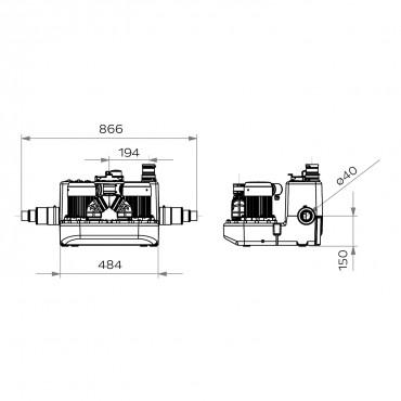 bomba águas cinzentas - SANICOM 2 - medidas